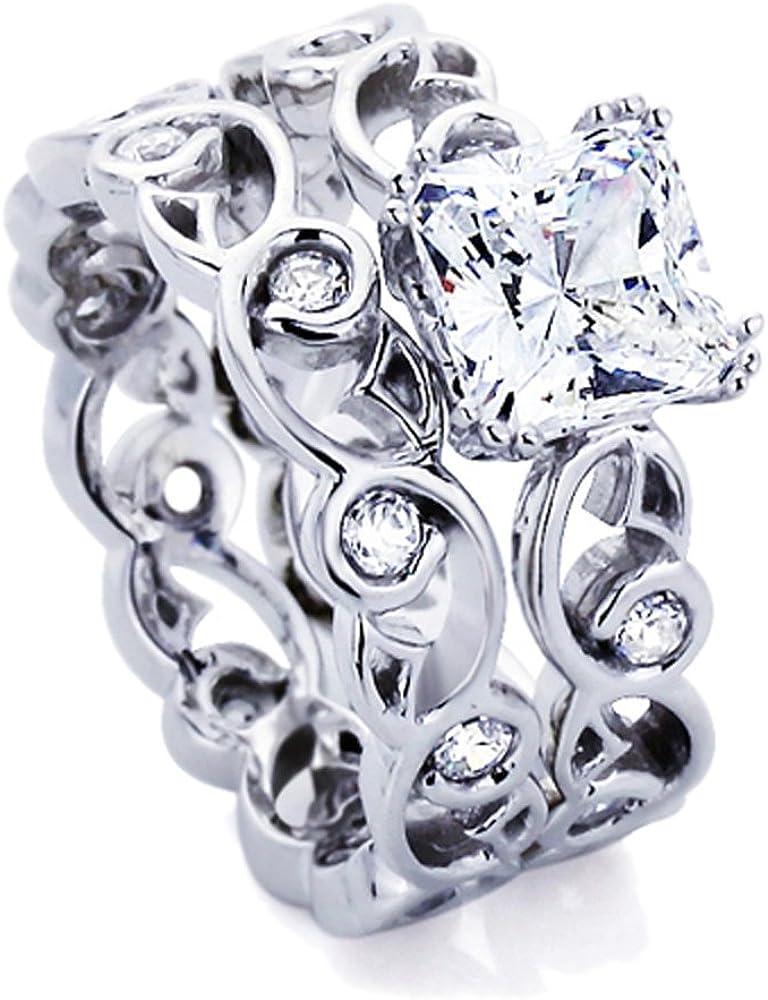 Sterling Max 59% OFF Silver Wedding Ring 1.5 Carat Stone Cushion Super sale Cut CZ Fili