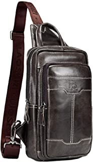 حقيبة ظهر كاجوال بحزام جلدي للرجال والنساء، حقيبة تمر بالكتف والصدر داي باك