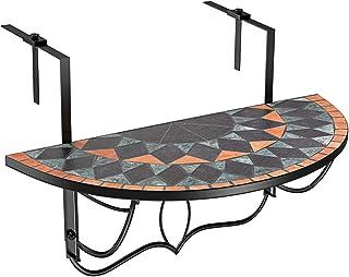 comprar comparacion Deuba Mesa Colgante de balcón Plegable Terracotta diseño Mosaico barandilla de 4cm hasta 16cm 76x40cm terraza jardín