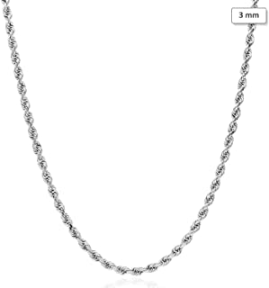 "14K Solid White Gold 3mm Diamond Cut Rope Chain Necklace 16""-30"""
