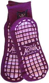 Non Slip Socks (Purple, Youth Medium) Shoe Sz 2-6) 3-pack