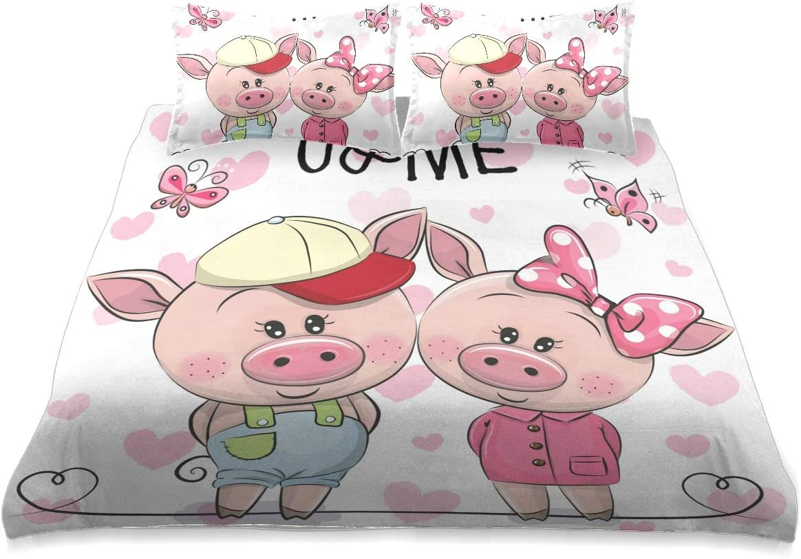 Pink WEB限定 Cute Pig 新色追加 Comforter Set Size Queen Cover