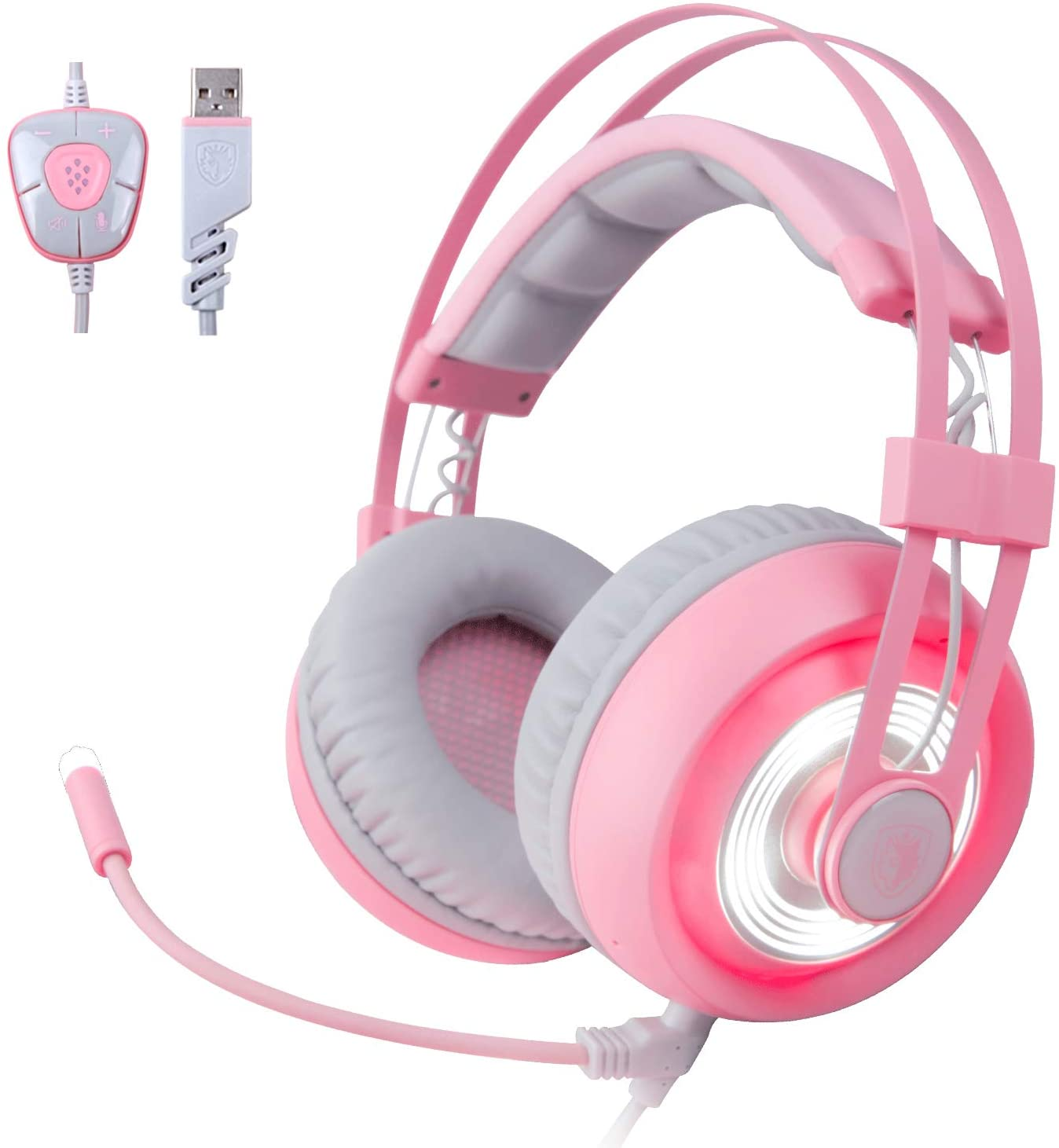 SADES G70 7.1 Surround Sound USB Pink PC Headset Over-Ear Gaming Headset Headphones with Microphone LED Light