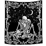 POHOVE Calavera Tapiz El Besando Amates Tapiz Negro Tarot Tapiz Humano Esqueleto Tapiz Decoración de Pared, para Salón Dormitorio Cuarto Decoración - como Imagen Show, 200x150cm (07)