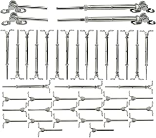 Muzata 20 Pairs Stainless Steel Cable Railing Kit Systems Fit 1/8
