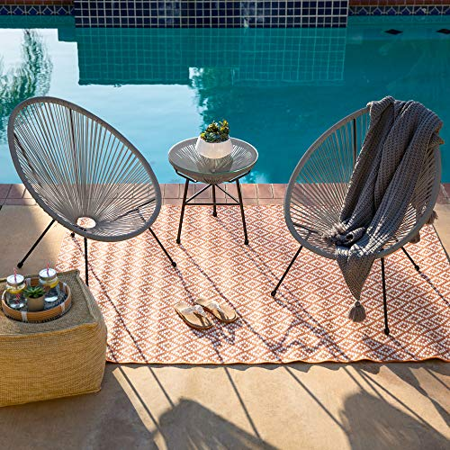Best Choice Products 3-Piece All-Weather Patio Acapulco Bistro Furniture Set w/Rope, Glass Top Table - Gray