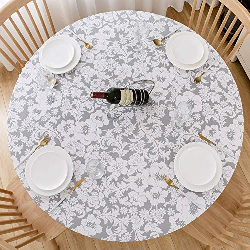 DecorMaster Round Fitted Vinyl Tablecloth with Flannel Backing Elastic Edge Waterproof Plastic Table Cover for Outdoor Patio Kitchen and Dining Room Golden Gray Leaves 40in-44in Small
