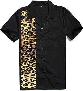 tlothes Cotton Rockabilly Shirts Mens Short Sleeve Mint Green Printing Graphic Shirt Button-Down Fifties Bowling Shirts