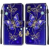iCaseU Cárcasa para Huawei Y5 2019/Honor 8S Protectora Dibujo a Color Funda de Cuero Tapa Horizontal PU Cuero Funda Teléfono Móvil Flip Case Cover para Huawei Y5 2019/Honor 8S,Mariposa Azul Dorada