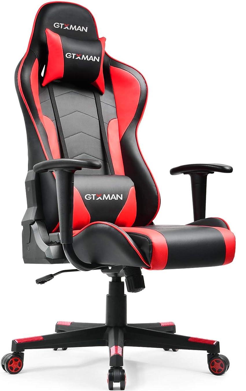 電化するゲートウェイその他GTXMAN ゲーミングチェア オフィスチェア リクライニング ハイバック レザー 肘掛付き 腰痛対策 デスクチェア パソコンチェア ゲーム用 椅子 【二年保証】 (X188-RED)