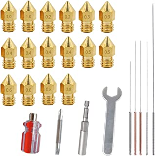 16 PCS 3D Printer Brass Extruder Nozzle Print Head with 4 DIY Nozzle Tools, DuKuan 7 Different Sizes Nozzles & Screw Driver, Spanner, Wrench Sleeve and Cleaning Needles Compatible with MK8