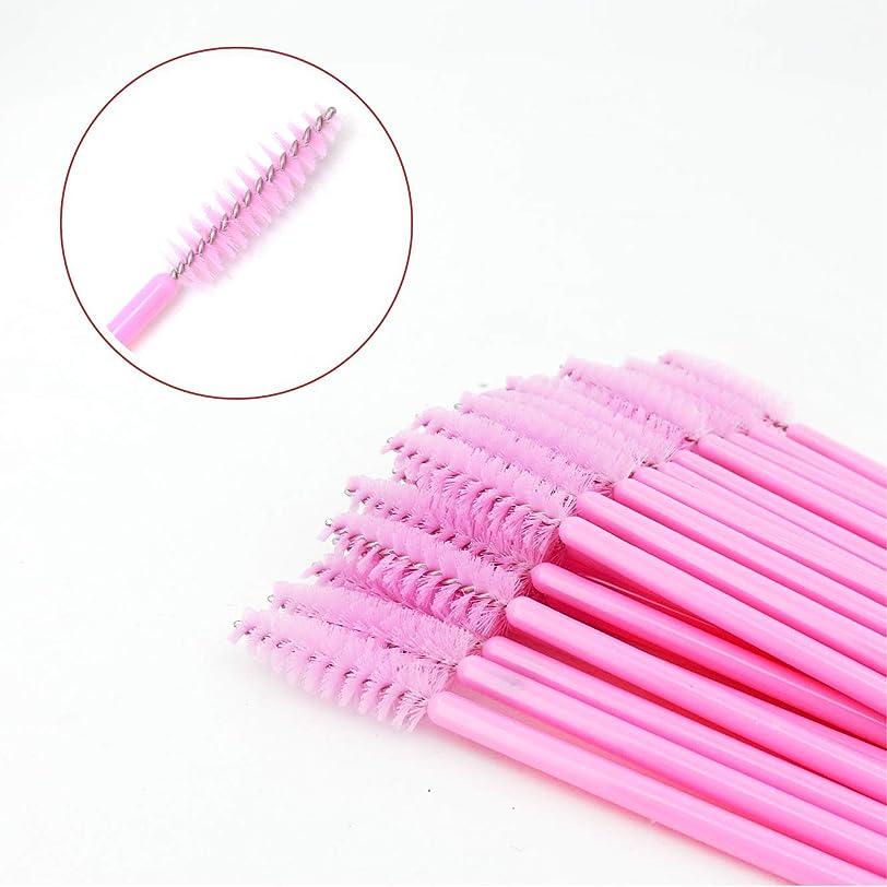 喜ぶ人類輸送LASHVIEWまつげブラシ 使い捨て スクリューブラシ まつげコーム マスカラブラシメイクブラシ アイメイク 化粧用品 ピンク 100pcs