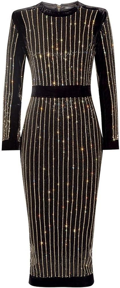 whoinshop Women's High Neck Long Sleeves Rhinestone Midi Evening Bandage Elegant Dress