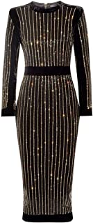 Women's High Neck Long Sleeves Rhinestone Midi Evening Bandage Elegant Dress