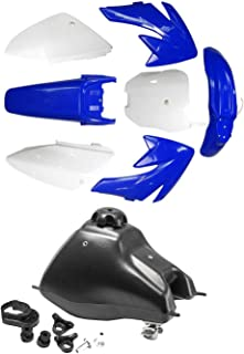 TDPRO Plastic Fairing Kit Body Fender Parts & Gas Tank for CRF70 CRF 70 Dirt Pit Bike (4Blue+3White)