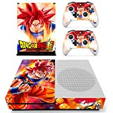 Vanknight Xbox One S Slim (XB1 S) Console 2 Controllers Remote Skin Set Vinyl Skin Decals Stickers Covers Wrap for XB1 S Super Goku