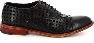 Leonardo Shoes Scarpe Stringate Uomo Artigianali Pelle Vitello Nera Traforata - Codice Modello: 34337/3 Papua Forato TUF Nero
