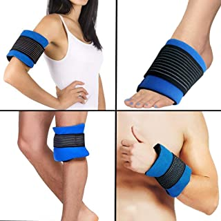 Reusable Universal Gel Ice Pack for Injuries, Flexible Cold Pack Ice Wrap with Soft Fabric Backing for Hot Cold Therapy on Elbow Ankle Knee Wrist Leg Shoulder Neck Arm Thigh Feet by WORLD-BIO