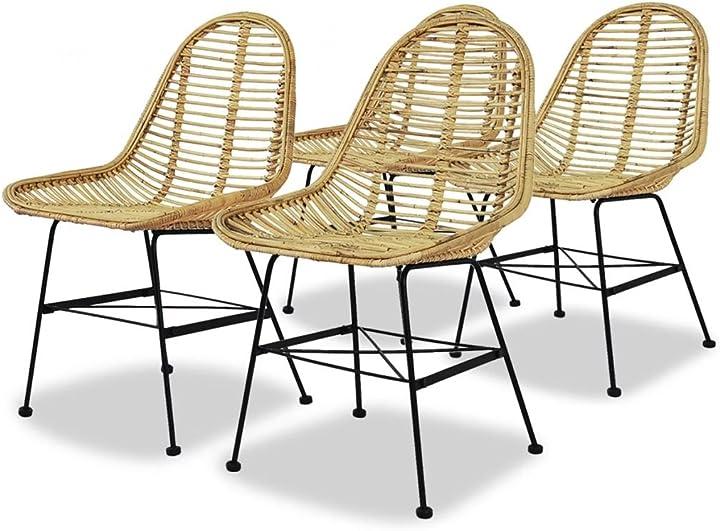Sedie sala da pranzo rattan naturale seggiole sgabelli arredi cucina vidaxl -  4 pezzi 244570