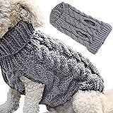 Petyoung Hundepullover Weste Warmer Mantel Haustier weiche Strickwolle Winter Pullover gestrickt Häkeln Mantel Kleidung für kleine mittlere große Hunde (XL, Grau)