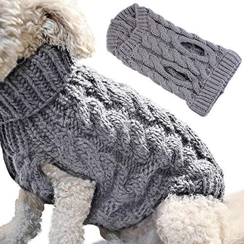 Petyoung Hundepullover Weste Warmer Mantel Haustier weiche Strickwolle Winter Pullover gestrickt Häkeln Mantel Kleidung für kleine mittlere große Hunde (M, Grau)