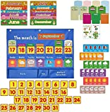 Weekly Calendar with Weather Pocket Chart,98 Bright Cards Included,Learning Pocket Chart Calendar for Kids Toddlers,Weekly Calendar Pocket Chart for Home&School 18'x 24'