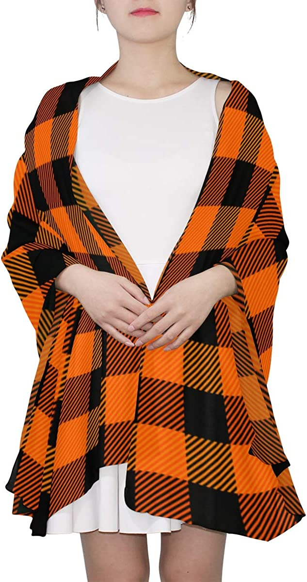 Cute Orange Lattices Unique Fashion Scarf For Women Lightweight Fashion Fall Winter Print Scarves Shawl Wraps Gifts For Early Spring