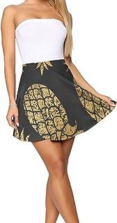 Design Theme Summer Women's Shorts Skirt Headphones On Dark Green Stripes
