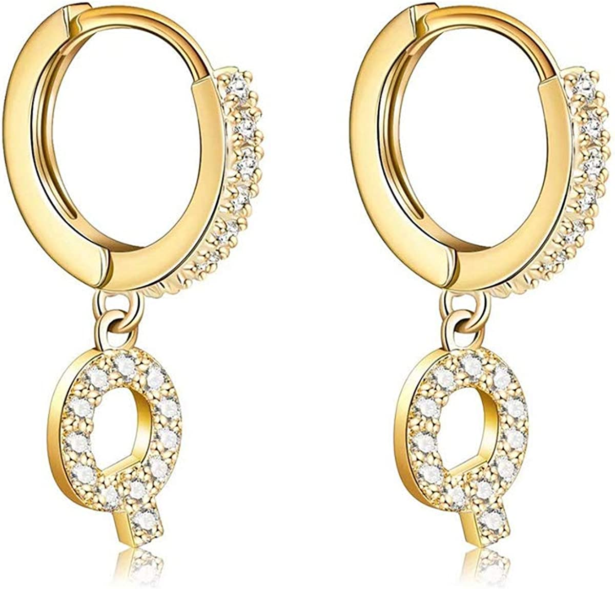 14K Gold Plated Cubic Zirconia Small H Earrings Delicate Initial A surprise price 40% OFF Cheap Sale is realized