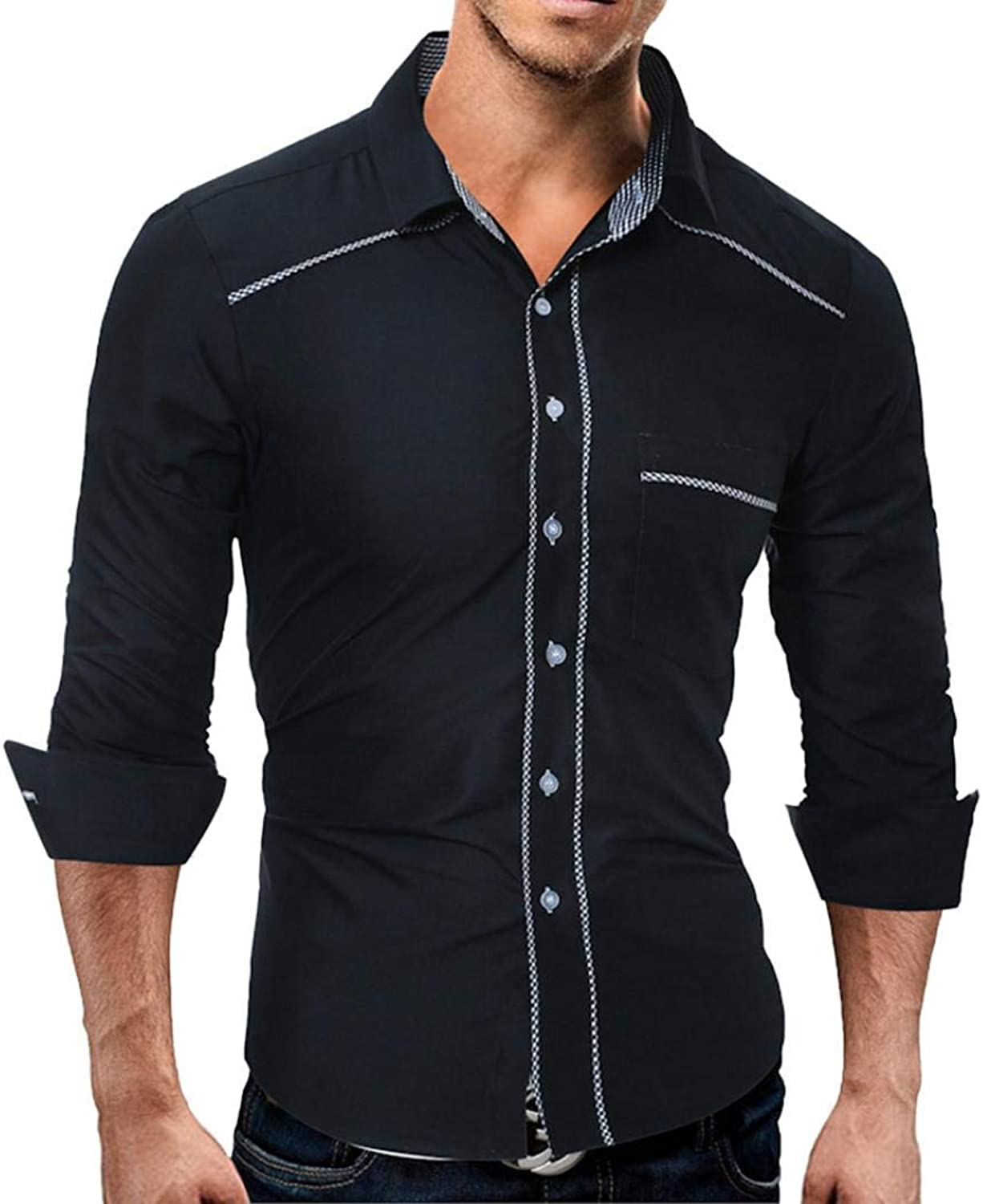 Men's Shirt Style Solid color Casual Long Sleeve Shirt Striped Slim Fit Fashion Handsome Mature Cosy Wild Tight Super Quality for Mens (color   black, Size   XXL)