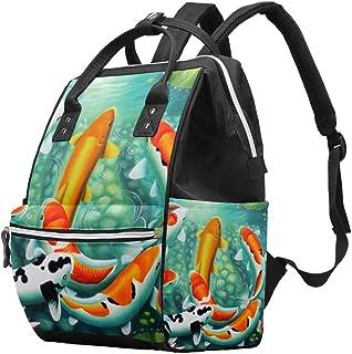 AyuStyle リュック レディース 池 鯉 魚 リュックサック かま口 ママバッグ マザーズバッグ バックパック おしゃれ 大容量 軽量 通学 通勤 アウトドア