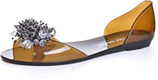 Women Sandals New Summer Bling Peep Toe Shoes Woman String Bead Flats Size Plus 35-40