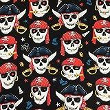 Schwarz Halloween Piraten Design 100% Baumwolle gedruckt