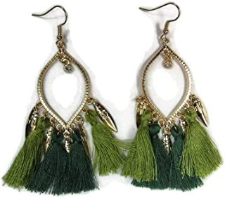 Extra-Large LONG Copper Triangle Statement Earrings w//5 Fancy Silk Thread Tassels /& Rhinestones 3 Long Dangles Abstract PatternDangles Abstract Pattern