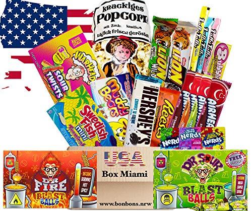 Süßigkeiten Box USA | Deine 21 tlg. Süßigkeitenmischung inklusive frischem Popcorn | XXL USA BOX MIAMI