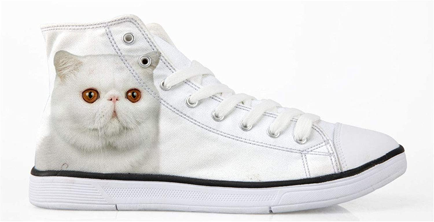 Mumeson Cat Print Women's High Top Classic Casual Canvas shoes Walking Sneakers