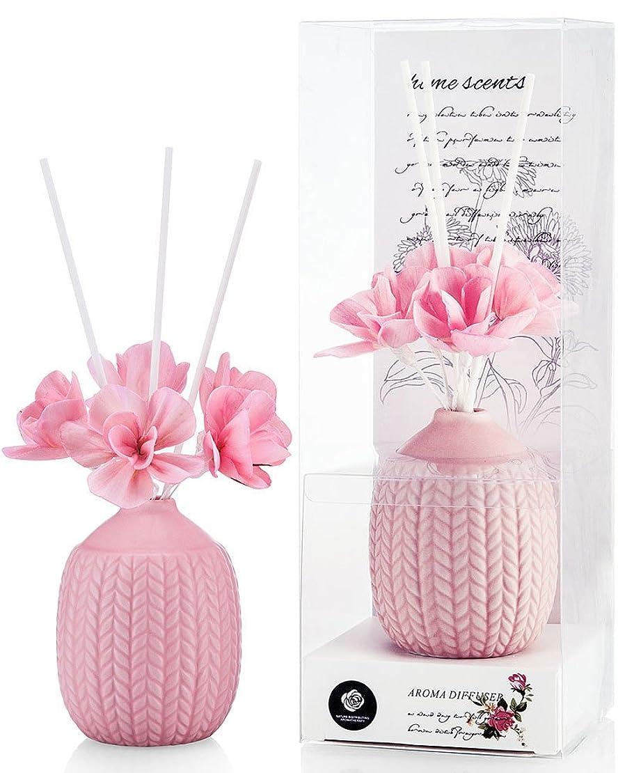 ハンカチ収容する誓いパステルカラー ルームフレグランス /芳香剤 アロマ スティック リードディフューザー (花:ピンク、香り:ローズ)