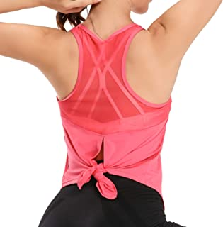 WOWENY Workout Back Tie Corp Tops for Women Yoga Open Back Shirts Racerback Athletic Mesh Tank Tops Gym Exercise Clothes