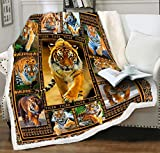 LIASOSO Tiger Blanket Tiger Print Throw Blanket, Soft Cosy Reversible Fleece Animal Blanket for Adults, Cuddly Snuggly Wildlife Blanket Throw Sherpa for Couch Sofa Boys Children Kids Orange 50x60 Inch