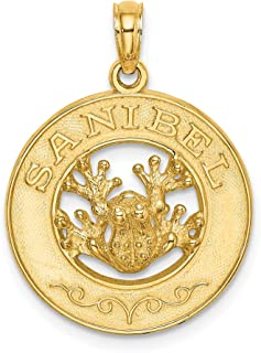 14k Yellow Gold Sanibel Round Frame Frog Pendant Charm Necklace Travel Transportation Fine Jewelry Gifts For Women For Her