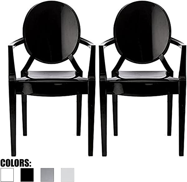 2xhome Set Of 2 Modern Ghost Chair Armchair With Arm Polycarbonate Plastic Black