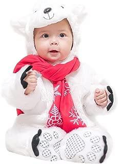 Cute Polar Bear Modeling Jumpsuit Hooded Bodysuit Footies Romper Onesie Outfit