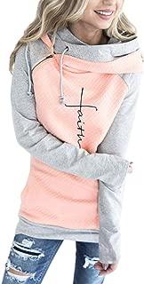 AELSON Women's Faith Print Hoodies Shirt Female Long Sleeve Casual Tops Tee Cute
