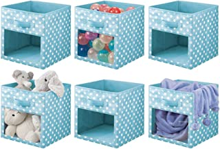 mDesign Soft Fabric Closet Storage Organizer Cube Bin Box, Clear Window and Handle - for Child/Kids Room, Nursery, Playroo...