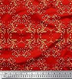 Soimoi Rot Kreppseide Stoff Filigran Damast gedruckt Craft