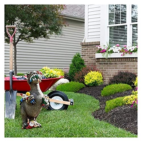 X-LSWAB Dinosaur Eating Gnomes Garden Statue Outdoor Funny Figurine Art Decor Sculpture For Patio Lawn Yard Decoration (Size : L)