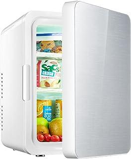DIWEI Mini-Kühlschrank 10L, Kompakter Mini-Kühlschrank AC+DC Power 12V Gehärtete Glastür Für Hautpflege, Kosmetik, Lebensmittel, Für Zuhause Und Reisen Silver