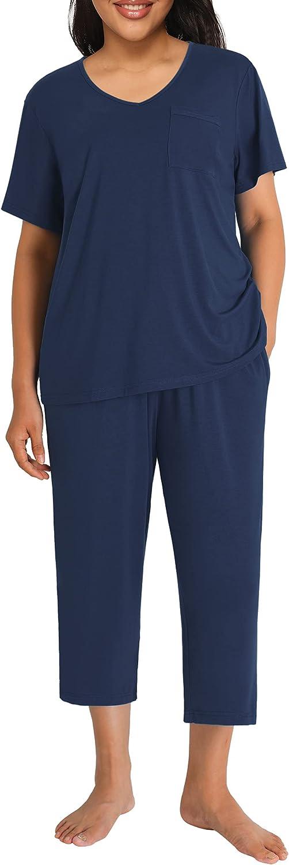 Esenchel Women's Plus Bamboo Rayon Sleep Top with Capri Pajama Set