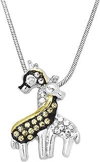 Falari Giraffe Pendant Necklace Rhinestone Crystal Rhodium High Polished
