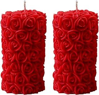 Shraddha Creation Designer Rose Pillar Candle (Pack of 2)